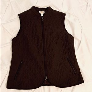 EUC L Talbots Quilted Brown Vest